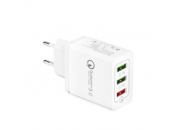 Incarcator Retea USB OEM Quick Charge 5.1A, 3 x USB, Alb, Blister