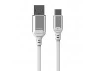 Cablu Date si Incarcare USB la USB Type-C Proda Leiyin PD-B14a, cu LED-uri Audio, 2.1A, 1 m, Alb, Blister