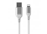 Cablu Date si Incarcare USB la Lightning Proda Leiyin PD-B14i, cu LED-uri Audio, 2.1A, 1 m, Alb, Blister