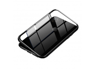 Husa Aluminiu Baseus Magnetic Frame Hybrid cu spate din sticla pentru Apple iPhone XR, Neagra, Blister WIAPIPH61-CS01