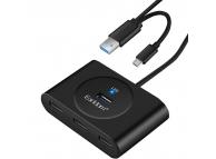 Hub USB 2.0 - Microusb Earldom HUB04, 4 porturi USB, Negru Blister