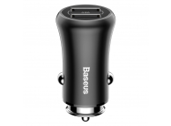 Incarcator Auto USB Baseus Gentleman, Quick Charge, 4.8A, 2 X USB, Negru, Blister