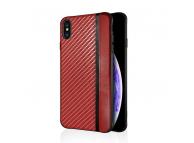 Husa Piele - TPU OEM Carbon Mulsae pentru Apple iPhone 7 / Apple iPhone 8, Rosie, Bulk