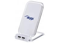 Incarcator Retea Wireless Akyga AK-QI-03, Stand QI, 2 X USB, Alb, Blister