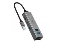 Hub Baseus Cube USB 3.0 la 5xUSB (3xUSB 3.0, 2xUSB 2.0) , Gri, Blister CAHUB-C0G