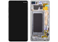 Display - Touchscreen Samsung Galaxy S10+ G975, Cu Rama, Argintiu (Prism White) GH82-18849B