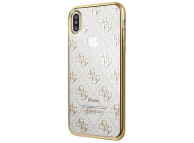 Husa TPU Guess 4G pentru Apple iPhone XS Max, Aurie - Transparenta, Blister GUHCI65TR4GG