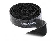 Banda Velcro organizare cabluri USAMS ZB060, 2cm x 1m, Neagra