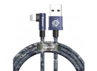 Cablu Incarcare USB la Lightning Baseus Camouflage Mobile Game Elbow, 1 m, Albastru, Blister CALMC-A03
