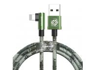 Cablu Incarcare USB la Lightning Baseus Camouflage Mobile Game Elbow, 1 m, Verde, Blister CALMC-A06
