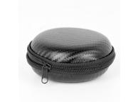 Husa protectie OEM pentru handsfree / casti, 8 x 8 x 3 cm, Carbon, Neagra