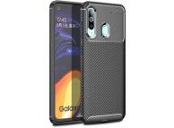 Husa TPU OEM Beetle Carbon Fiber pentru Samsung Galaxy A60, Neagra, Bulk