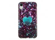 Husa TPU OEM Glitter Green Heart pentru Apple iPhone XR, Multicolor, Bulk