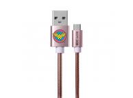 Cablu Date si Incarcare USB la MicroUSB DC Comics Metal Wonder Woman 002, 1 m, Roz Auriu, Blister