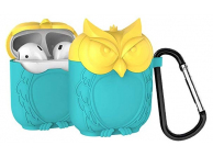 Husa silicon OEM pentru Airpods Owl Turquoise - Galbena