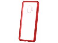 Husa Aluminiu OEM Magneto Frame cu spate din sticla pentru Samsung Galaxy A20 A205 / Samsung Galaxy A30 A305, Rosie, Blister