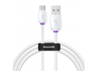 Cablu Date si Incarcare USB la USB Type-C Baseus Purple Ring HW Flash, 1 m, Alb, Blister