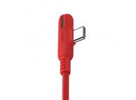 Cablu Date si Incarcare USB la USB Type-C Joyroom S-M392 Baige LED Light Game, 1.2 m, Rosu, Blister