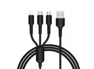 Cablu Incarcare USB la Lightning - USB la MicroUSB - USB la USB Type-C Borofone BX16, 1 m, Negru, Blister