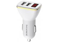 Incarcator Auto USB Borofone BZ11, Afisaj Led, Fast Charging, 2 X USB, Alb, Blister