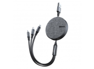 Cablu Incarcare USB la Lightning - USB la MicroUSB - USB la USB Type-C Baseus Fabric, Retractabil, 1.2 m, Gri, Blister CAMLT-BYG1