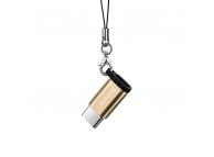 Adaptor Date si Incarcare MicroUSB la USB Type-C Usams SJ153MT02 (US-SJ153), Auriu, Blister