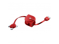 Cablu Date si Incarcare USB la Lightning - USB la MicroUSB - USB la USB Type-C Usams, Retractabil 3in1, U17, SJ263USB02 (US-SJ263), 1 m, Rosu, Blister