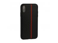 Husa TPU OEM Moto Carbon pentru Samsung Galaxy A20e, Neagra - Rosie, Bulk