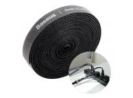 Banda Baseus Rainbow Velcro pentru organizare cabluri, 3m, Neagra ACMGT-F01