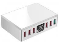 Incarcator Retea Statie USB OEM WLX-T9+ 40W, 6 In 1, cu display LED, 6 x USB, Alb, Blister