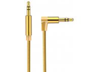 Cablu Audio 3.5 mm la 3.5 mm OEM AV01, Elbow, 2 m, Auriu, Bulk