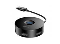Hub Baseus Round USB 3.0 la 4xUSB (1xUSB 2.0, 3xUSB 3.0), 23cm, Negru, Blister CAHUB-F01