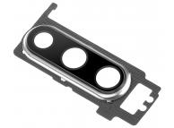 Geam Camera Spate Cu Rama Argintie (Pearl White) Huawei P30