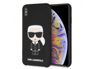 Husa TPU Karl Lagerfeld Ikonik Full Body pentru Apple iPhone XS Max, Neagra, Blister KLHCI65SLFKBK