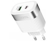 Incarcator Retea USB HOCO C58A Prominent, PD + QC3.0, 18W, 1 X USB - 1 X USB Tip-C, Alb, Blister