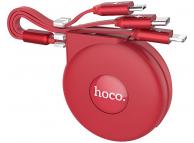 Cablu Date si Incarcare USB la Lightning - USB la MicroUSB - USB la USB Type-C HOCO U50, Retractabil, 1 m, Rosu, Blister