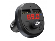 Modulator FM Bluetooth HOCO E41, MP3 Player, Buton Apel, 2 x USB, Negru