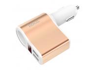 Incarcator Auto USB HOCO Z10, cu afisaj LED si extensie bricheta auto, 2 X USB, Alb, Blister