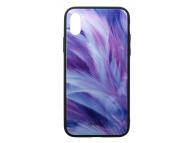 Husa Poliuretan Tellur Glass Print, cu spate din sticla pentru Apple iPhone X / Apple iPhone XS, Feather, Multicolor, Blister TLL121285