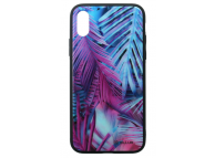 Husa Poliuretan Tellur Glass Print, cu spate din sticla pentru Apple iPhone X / Apple iPhone XS, Palm, Multicolor, Blister TLL121325