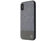 Husa Piele Tellur Glitter II pentru Apple iPhone X / Apple iPhone XS, Argintie, Blister TLL121204