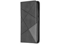 Husa Piele OEM Rhombus Texture cu suport carduri si foto pentru Nokia 2.2, Neagra, Bulk