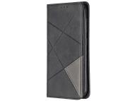Husa Piele OEM Rhombus Texture cu suport carduri si foto pentru Nokia 4.2, Neagra, Bulk