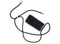 Husa TPU NECKLACY Antisoc cu Snur Negru pentru Apple iPhone X / Apple iPhone XS, Transparenta, Blister