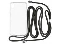 Husa TPU NECKLACY Antisoc cu Snur Negru pentru Apple iPhone XR, Transparenta, Blister