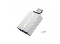 Adaptor OTG USB la MicroUSB Borofone BV2, Argintiu, Blister