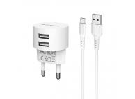 Incarcator Retea cu cablu MicroUSB Borofone BA23A, 2 X USB, Alb, Blister