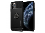 Husa TPU Spigen Rugged Armor pentru Apple iPhone 11 Pro Max, Neagra, Blister 075CS27133