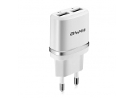Incarcator Retea USB Awei C-930, 2.1A, 2 X USB, Alb Argintiu, Blister