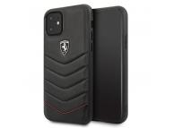 Husa Piele - TPU Ferrari pentru Apple iPhone 11, Heritage Quilted, Neagra, Blister FEHQUHCN61BK